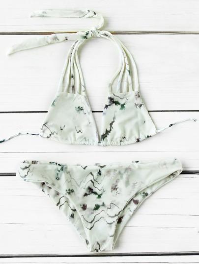 Tie Dye Strappy Bikini Set