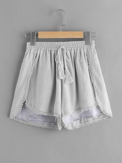 Shorts de croché con cordón con fleco