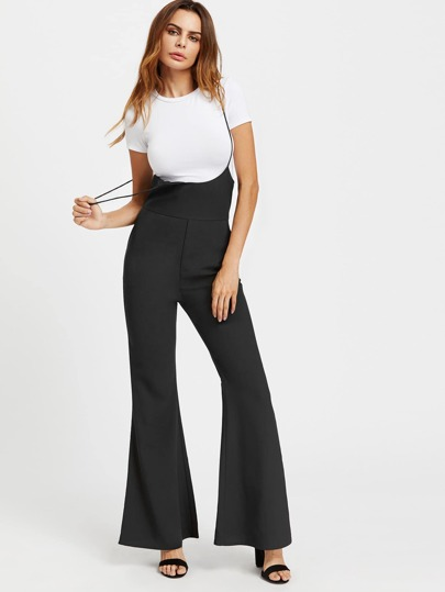 Zipper Back Flare Jumpsuit With Adjustable Strap