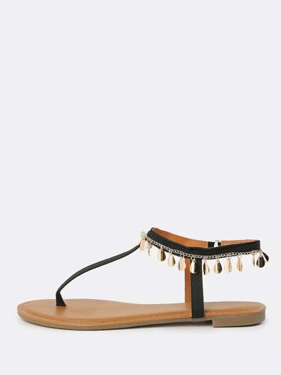 Teardrop Anklet Thong Sandals BLACK