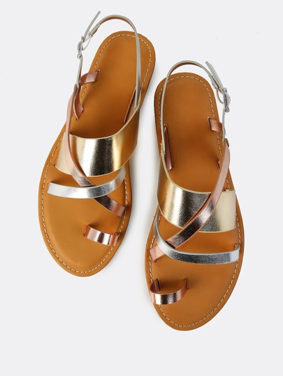 Metallic Cross Strap Sling Back Sandals MULTI