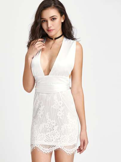Lace Overlay Plunge Neck Infinity Dress