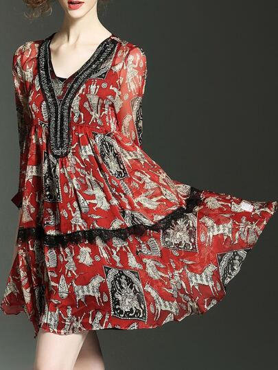 Red V Neck Contrast Lace Print Beading Dress