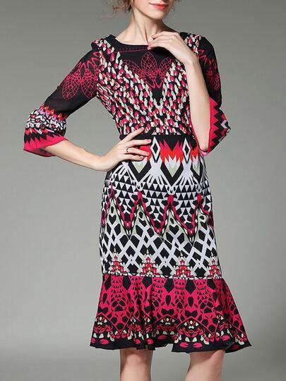 Bell Sleeve Print Frill Dress