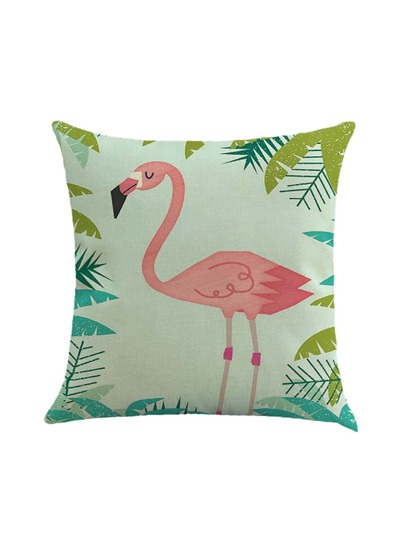 Flamingo And Leaf Print Cushion Cover