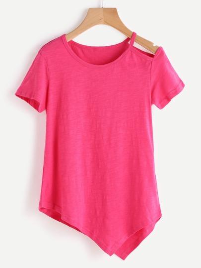 Camiseta asimétrica de hombro con abertura - rosado