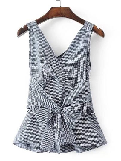 V-Neckline Bow Tie Waist Gingham Sleeveless Top
