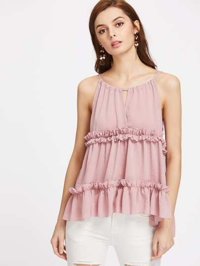 Frill Trim High Low Keyhole Drawstring Cami Top