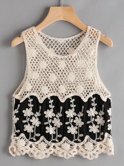 Hollow Out Crochet Chevron Hem Tank Top