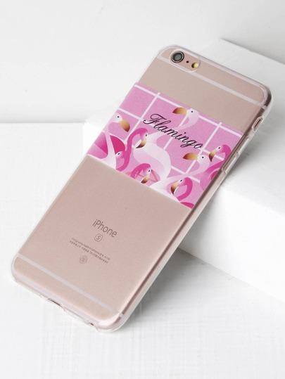 Cover per iphone 6 plus/6s con stampa di fenicottero