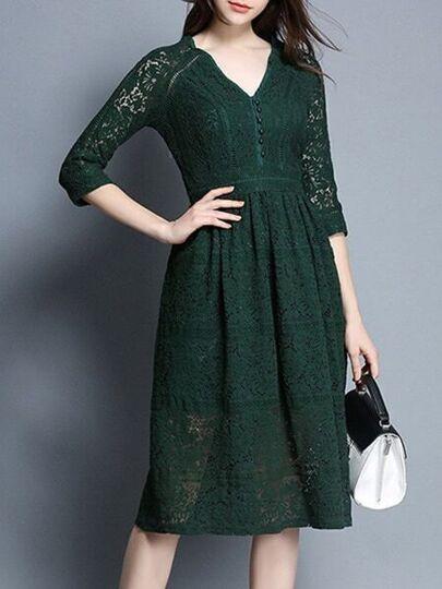 V Neck Hollow Lace Dress