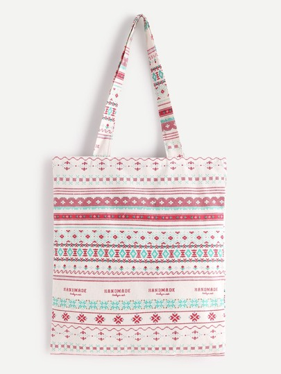 Bolso shopper de lino con estampado geométrico