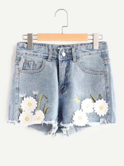 Gestickte Applikationen Frayed Hem Denim Shorts