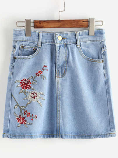 Embroidery Denim Skirt