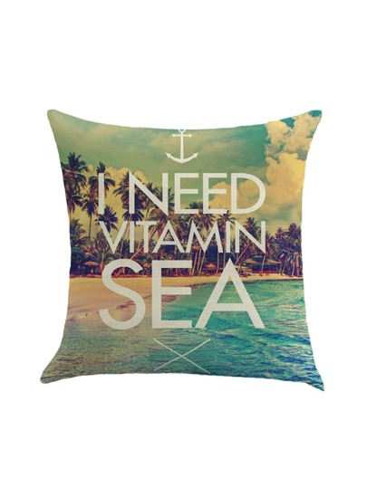 Beach Style Print Pillow Case Cover