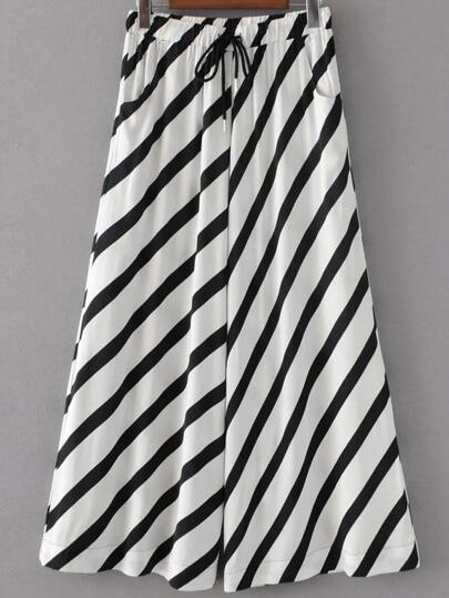 Drawstring Waist Contrast Striped Palazzo Leg Pants