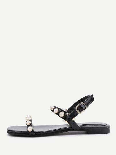 Sandalias planas con diseño de perla de imitación