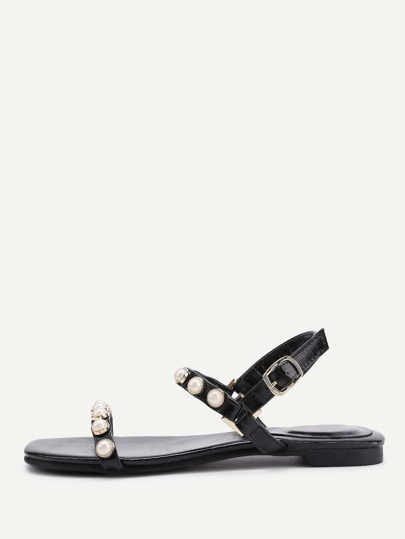 Faux Pearl Design Flat Sandals