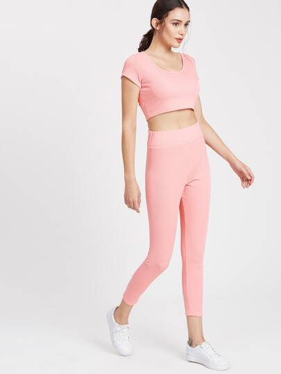 Active Crop Tee With Leggings