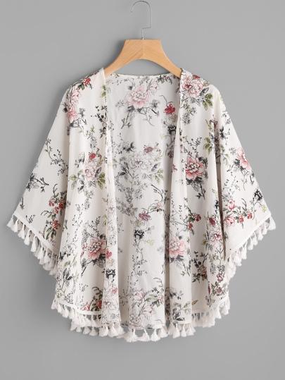 Kimono botanique découpé avec des franges