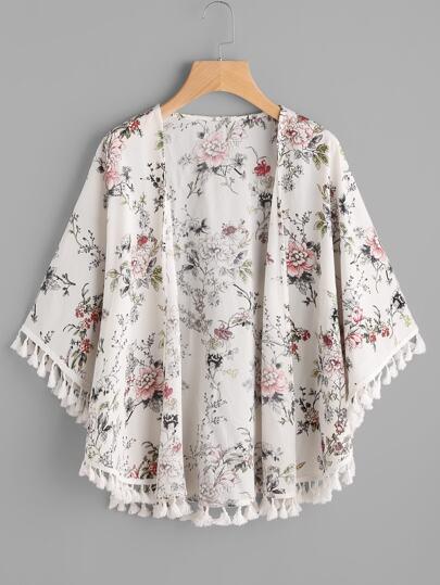 Kimono botanico con bordi a nappe
