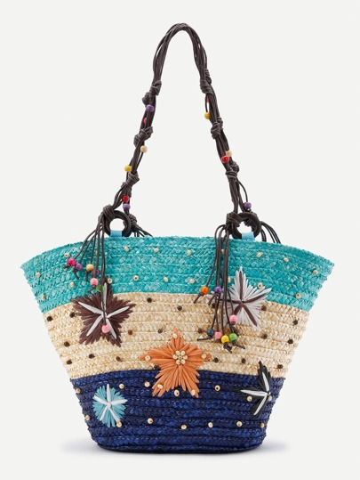 Color Block Beaded Detail Straw Bag