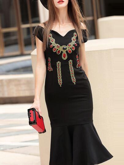 Black Sweetheart Neck Beading Frill Dress