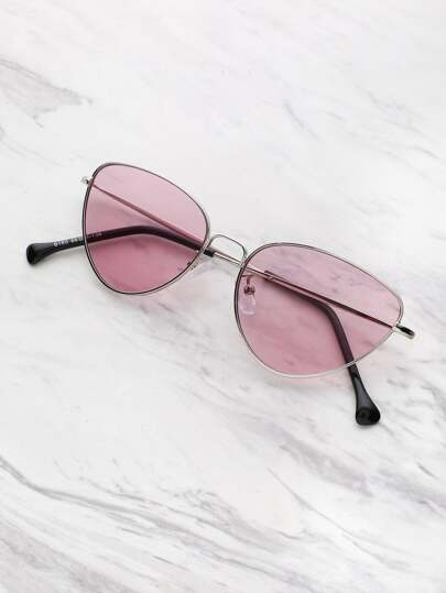 Oval Shaped Flat Lens Sunglasses