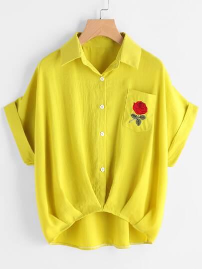 Tee-shirt brodé froncé avec poche