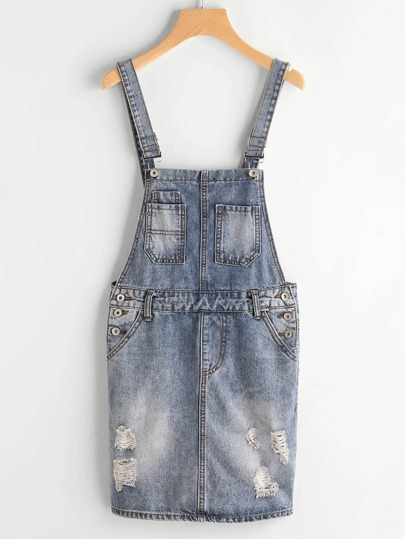 Ripped Denim Overall Dress With Pockets