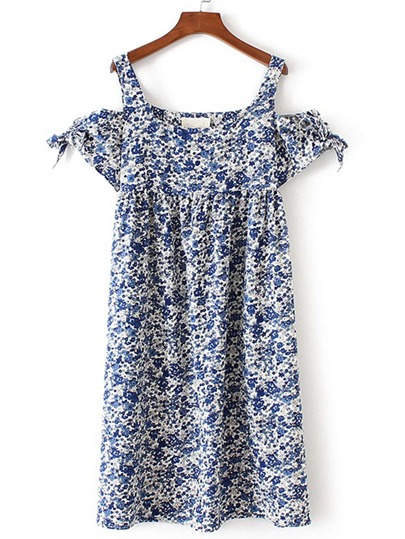 Cold Shoulder Knot Detail Floral Dress