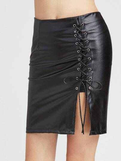 Faux Leather Eyelet Lace Up Skirt