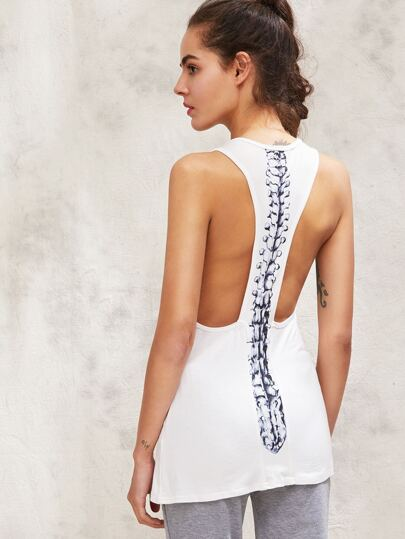 Active Spine Print Back Tank Top