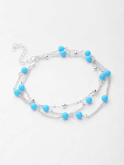 Contrast Beaded Design Chain Bracelet/Anklet
