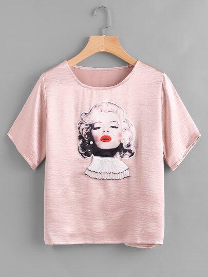 Marilyn Monroe Print Pearl Detail Appliques Satin Tee