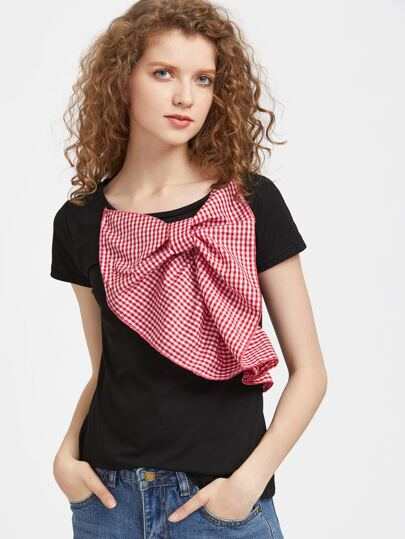 Gingham Bow Tie Detailed Tee