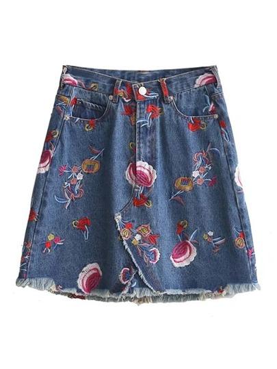 Raw Hem A Line Denim Skirt