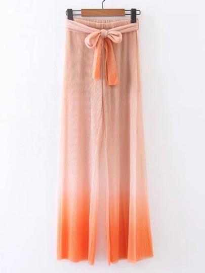 Pantalones plisados de efecto teñido anudado con cordón