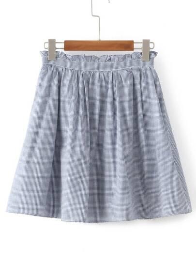 Falda línea A de guingán de cintura elástica