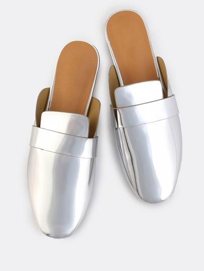 Slip On Open Back Loafers SILVER