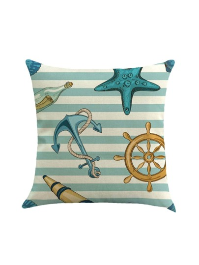Striped Anchor Print Linen Pillowcase Cover