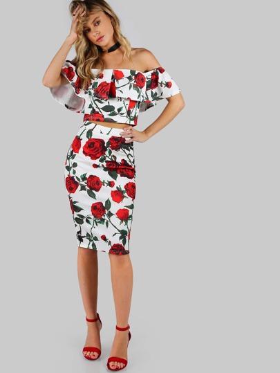 Off Shoulder Rose Print Crop and Skirt Set WHITE RED