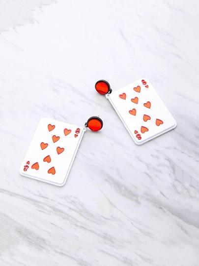 Pendientes en forma de tarjeta de juego