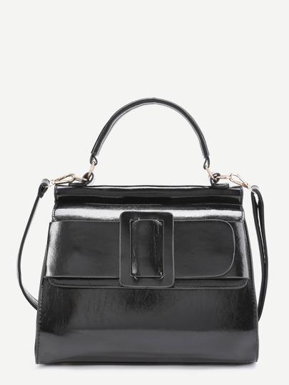 Buckle Design PU Satchel Bag
