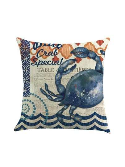 Crab Print Cushion Linge de lit
