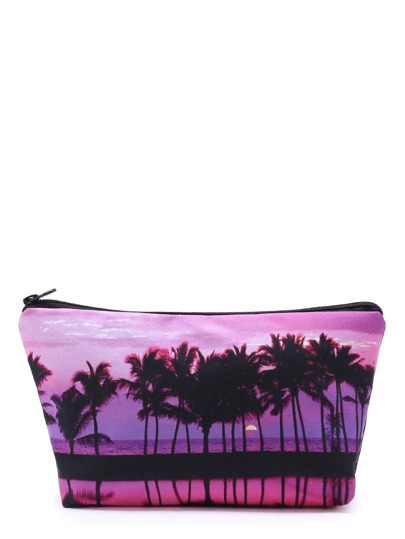 Palm Tree Print Makeup Bag
