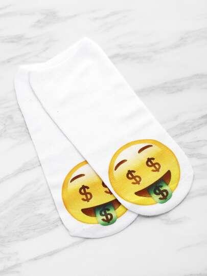 Calcetines invisibles con estampado de emoji