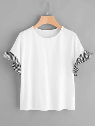 T-Shirt mit Raffungärmeln