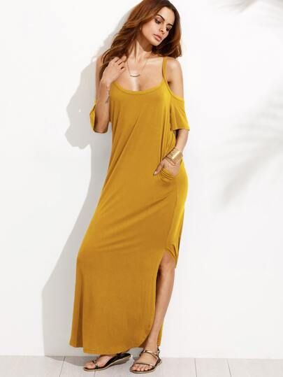 Double Scoop Hidden Pocket Slit Dolphin Hem Dress