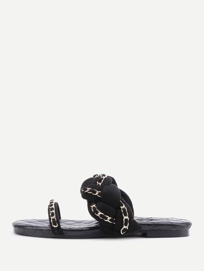 Sandalias con detalle de cadena con correa trenzada